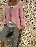 tanie Swetry damskie-Damskie Codzienny Nadwymiarowe Solidne kolory Długi rękaw Regularny Pulower Rumiany róż / Beżowy / Szary XXXL / 4XL / XXXXXL