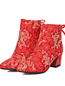 cheap Evening Dresses-Women's Satin / Synthetics Spring &  Fall Sweet / Chinoiserie Wedding Shoes Chunky Heel Closed Toe Mid-Calf Boots Red / Party & Evening