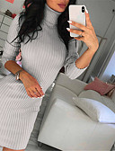 cheap Sweater Dresses-Women's Daily / Going out Basic / Street chic Sheath Dress - Solid Colored Turtleneck Fall Black Pink Gray M L XL