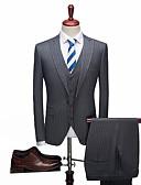זול חליפות-אחיד / פסים גזרה רגילה ספנדקס / פוליסטר חליפה - סגור Single Breasted One-button / חליפות