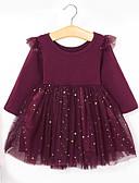 economico Vestiti per ragazze-Bambino (1-4 anni) Da ragazza Essenziale / Dolce Tinta unita Manica lunga Vestito Vino