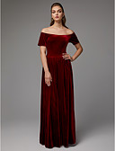 billige Aftenkjoler-A-linje Løse skuldre Gulvlang Fløyel Formell kveld Kjole med av TS Couture®
