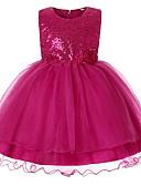お買い得  女児 ドレス-子供 女の子 活発的 日常 ソリッド リボン ノースリーブ 膝丈 ポリエステル ドレス ピンク