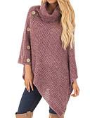 billige damesweaters-Dame Daglig Basale Ensfarvet Langærmet Løstsiddende Lang Pullover, Rullekrave Forår / Efterår Bomuld Sort / Beige / Vin L / XL / XXL