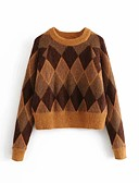 cheap Women's Sweaters-Women's Daily Tassel Color Block Long Sleeve Regular Pullover Brown S / M / L