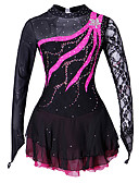 cheap Ice Skating Dresses , Pants & Jackets-Figure Skating Dress Women's / Girls' Ice Skating Dress Black Spandex, Lace Competition Skating Wear Handmade Solid Colored / Fashion Long Sleeve Ice Skating / Figure Skating