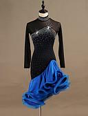 hesapli Latin Dans Giysileri-Latin Dansı Elbiseler Kadın's Eğitim / Performans Splandeks / Tül Kristaller / Yapay Elmaslar Uzun Kollu Yüksek Elbise