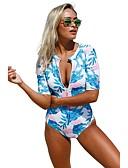 זול 2017ביקיני ובגדי ים-L XL XXL שרוכים לכל האורך פרחוני, בגדי ים חלק אחד (שלם) רגלו של הילד משולש פול שחור קשת צלילה בסיסי בגדי ריקוד נשים / סקסית