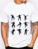 billige T-skjorter og singleter til herrer-T-skjorte Herre - Grafisk / Bokstaver, Trykt mønster Grunnleggende Svart og hvit
