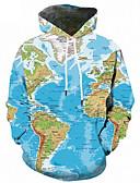 お買い得  メンズフーディー&スウェットシャツ-男性用 活発的 / ストリートファッション プラスサイズ ルーズ パンツ - 幾何学模様 / 3D プリント ライトブルー / フード付き / スポーツ / 長袖 / 秋 / 冬