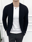 tanie Męskie swetry i swetry rozpinane-Męskie Codzienny Solidne kolory Długi rękaw Szczupła Regularny Sweter rozpinany Czarny XXXL / 4XL / XXXXXL