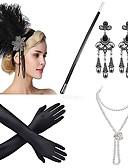 povoljno Stare svjetske nošnje-The Great Gatsby Čarlston Vintage 1920s Vruće dvadesete Traka za kosu u stilu 20-ih Setovi dodataka za kostime Žene Kostim Šeširi Igazgyöngy nyaklánc Zlatan / Zlatni + crna / Black / White Vintage