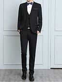 お買い得  メンズブレザー&スーツ-男性用 ワーク ストリートファッション プラスサイズ レギュラー スーツ, ソリッド ピーターパンカラー 長袖 ポリエステル ブルー / ブラック / ワイン XXXL / 4XL / XXXXXL / ビジネスフォーマル