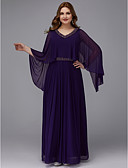 povoljno Maturalne haljine-A-kroj V izrez Do poda Šifon Formalna večer Haljina s Perlica po TS Couture®