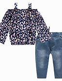 cheap Kids' Headpieces-Kids Girls' Active Street chic Daily Going out Floral Print Long Sleeve Regular Rayon Clothing Set Navy Blue