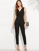 abordables Robes à Motifs-Femme Quotidien Basique Noir Combinaison-pantalon, Couleur Pleine M L XL Sans Manches