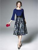 baratos Vestidos Femininos-Mulheres Vintage / Sofisticado Aberta Bainha Vestido - Pregueado, Jacquard Decote Canoa Médio Azul