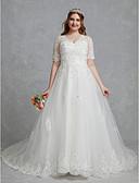 povoljno Vjenčanice-A-kroj V izrez Srednji šlep Čipka / Til Izrađene su mjere za vjenčanja s Kristalni detalji / Čipka po LAN TING BRIDE® / Predivna leđa