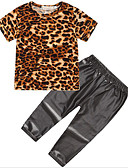 cheap Girls' Clothing Sets-Kids Girls' Active / Street chic Daily / Going out Leopard Print Short Sleeve Regular Polyester Clothing Set Black