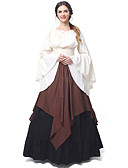 cheap Historical & Vintage Costumes-Princess Cosplay Retro / Vintage Medieval Renaissance Costume Women's Dress Brown / Red black / Green Vintage Cosplay Long Sleeve Flare Sleeve Long Length