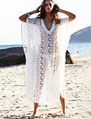 preiswerte Strandkleider-Damen Tiefer Ausschnitt Weiß Rock Cover-Up Bademode - Solide Spitze Einheitsgröße Weiß / Sexy