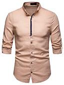 levne Pánské košile-Pánské - Jednobarevné Košile Podšívka Stojáček Černá L