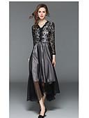 preiswerte Abendkleider-A-Linie V-Wire Ausschnitt Tee-Länge Spitze Kleid mit Spitzeneinsatz durch LAN TING Express