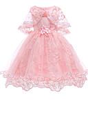 hesapli Elbiseler-Çocuklar / Toddler Genç Kız Vintage / Temel Parti / Tatil Solid Dantel Kolsuz Diz-boyu Pamuklu / Polyester Elbise YAKUT