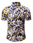 abordables Camisas de Hombre-Hombre Negocios / Básico Discoteca Estampado Camisa, Cuello Inglés Bloques Blanco XL / Manga Corta / Primavera