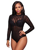cheap Sexy Bodies-Women's Super Sexy Teddy Nightwear - Mesh Solid Colored Black S M L / Turtleneck