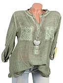 זול חולצה-אחיד צווארון V משוחרר כותנה, חולצה - בגדי ריקוד נשים תחרה ורוד מסמיק XXXL