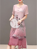 ieftine Bluză-Pentru femei Chinoiserie Mărime Plus Size Pantaloni - Floral Imprimeu Albastru piscină / Ieșire