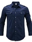 رخيصةأون قمصان رجالي-رجالي قطن قميص قياس كبير رقبة طوقية مرتفعة - أساسي مطرز أحرف أزرق البحرية XXXL / كم طويل