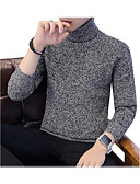 preiswerte Herren Pullover & Strickjacken-Herrn Ausgehen Solide Langarm Schlank Standard Pullover, Rollkragen Schwarz / Grau / Khaki XL / XXL / XXXL