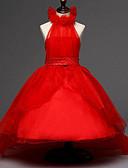 povoljno Haljine za djevojčice-Djeca Djevojčice slatko Ulični šik Party Cvjetni print Perlice Mrežica Bez rukávů Haljina Red