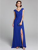 cheap Mother of the Bride Dresses-A-Line V Neck Floor Length Chiffon Mother of the Bride Dress with Split Front by LAN TING BRIDE®