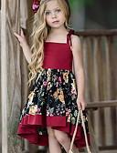 Χαμηλού Κόστους Βρεφικά σετ ρούχων-Παιδιά Κοριτσίστικα Γλυκός Καθημερινά Φλοράλ Στάμπα Αμάνικο Ασύμμετρο Φόρεμα Ρουμπίνι