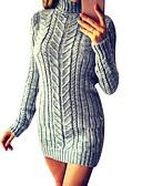 cheap Sweater Dresses-Women's Daily Basic Sheath Dress - Solid Colored Turtleneck Fall Purple Yellow Fuchsia M L XL / Sexy