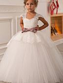 Χαμηλού Κόστους Λουλουδάτα φορέματα για κορίτσια-Βραδινή τουαλέτα / Πριγκίπισσα Μακρύ Φόρεμα για Κοριτσάκι Λουλουδιών - Πολυεστέρας / Δαντέλα Αμάνικο Τετράγωνη Λαιμόκοψη με Φιόγκος(οι) / Δαντέλα με LAN TING Express