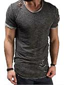 abordables Camisetas y Tops de Hombre-Hombre Básico Algodón Camiseta, Cuello Camisero Un Color Gris XXL / Manga Corta