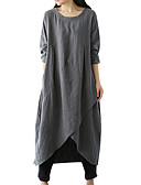 cheap Women's Two Piece Sets-Women's Plus Size Daily Basic Asymmetrical Loose Tunic Dress - Solid Colored Green Black Gray XXXL 4XL XXXXXL