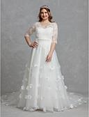povoljno Vjenčanice-A-kroj V izrez Srednji šlep Čipka / Til Izrađene su mjere za vjenčanja s Perlica / Aplikacije / Traka / vrpca po LAN TING BRIDE® / Iluzija / Predivna leđa