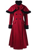 cheap Women's Coats & Trench Coats-Women's Holiday / Going out Fall & Winter Long Trench Coat, Solid Colored Turtleneck Long Sleeve Wool Blend Wine