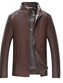 cheap Men's Jackets & Coats-Men's Daily Basic Spring &  Fall / Fall & Winter Regular Leather Jacket, Solid Colored Stand Long Sleeve PU / Polyester Brown / Black XXL / XXXL / 4XL