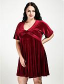 baratos Vestidos Femininos-Mulheres Tamanhos Grandes Moda de Rua Veludo Evasê Vestido Sólido Decote V Acima do Joelho