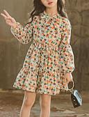 رخيصةأون مجموعات ملابس البيبي-فستان كم طويل طباعة ورد مناسب للخارج حلو للفتيات أطفال