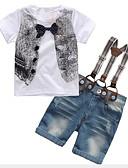 hesapli Erkek Çocuk Kıyafet Setleri-Çocuklar Genç Erkek Actif Sokak Şıklığı Günlük Dışarı Çıkma Desen Fiyonklar Kısa Kollu Normal Kıyafet Seti Beyaz