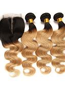 ieftine Rochii Fete-3 pachete cu închidere Păr Brazilian Stil Ondulat Păr Remy Extensii din Păr Natural Bătătură de par cu închidere 10-24 inch Umane Țesăturile de par Moale Cea mai buna calitate O noua sosire Umane