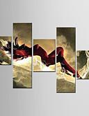 baratos Vestidos Estampados-Pintura a Óleo Pintados à mão - Abstrato Tela de pintura 5 Painéis