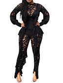 povoljno Ženski jednodijelni kostimi-Žene Klub Ulični šik Crn Jumpsuits, Jednobojni Čipka L XL XXL Dugih rukava / Sexy